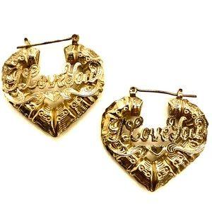 Gold Plated Bamboo Heart Earrings | I love you